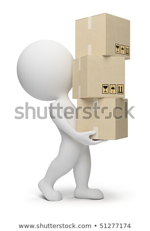 3d small people carrying cardboard boxes 3d image stock photo © dacasdo