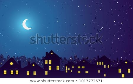 middernacht · stadsgezicht · oude · historisch · huizen · winkels - stockfoto © orson