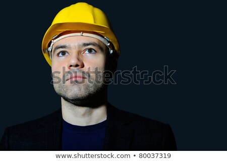 Closeup portrait of mature man wearing helmet looking far  Stock photo © HASLOO