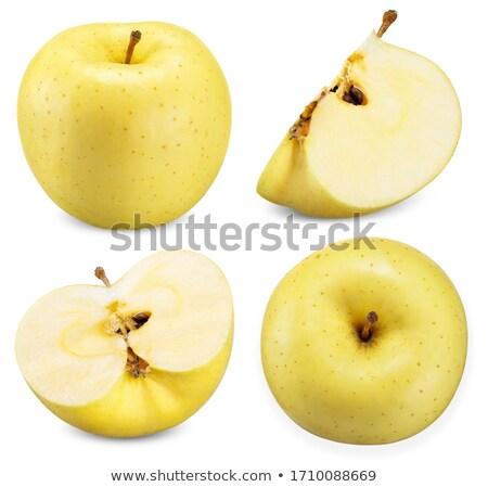 Foto stock: Atravessar · amarelo · maçã · isolado · branco