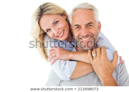 Kafa omuz atış olgun çift gülümseme Stok fotoğraf © photography33