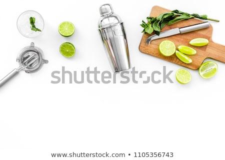 Verde cal mojito rebanada macro agua Foto stock © gorgev
