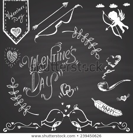 Love hearts with Cupid arrow on a chalkboard  Stock photo © bbbar