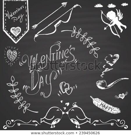 szív · nyíl · rajzolt · kréta · textúra · esküvő - stock fotó © bbbar