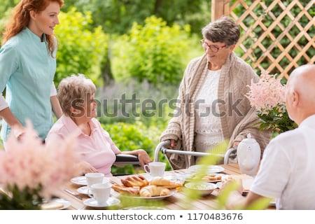 boldog · eszik · idős · nő · tál · kert - stock fotó © szefei