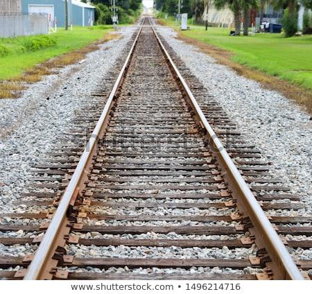 Steel railroad tracks for a train. landscape transportation trac Stock photo © jeremywhat