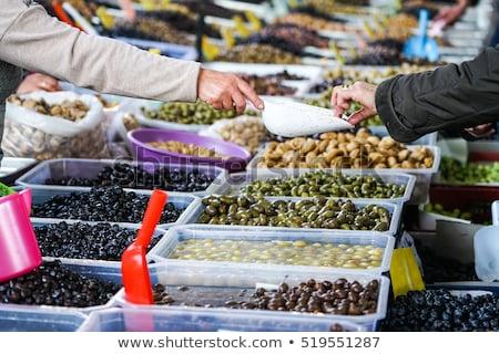 Friss organikus különböző olajbogyók utca piac Stock fotó © Kuzeytac