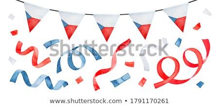 bandera · República · Checa · dibujado · a · mano · ilustración · diseno · azul - foto stock © perysty