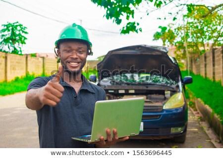 エンジニア 承認 建設 壁 背景 帽子 ストックフォト © photography33