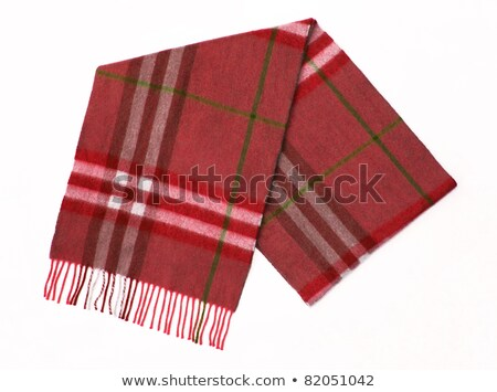 Colorful Wool green Plaid Scarf with trim isolated on white Stock photo © ozaiachin