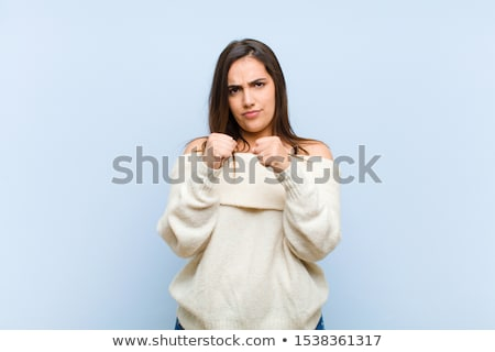 積極的な · 若い女性 · こぶし · 孤立した · 白 - ストックフォト © elenaphoto