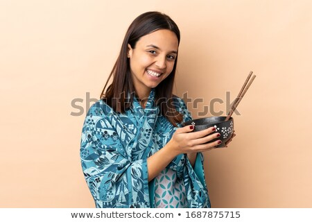 Boldog nő kimonó tart evőpálcikák divat Stock fotó © wavebreak_media