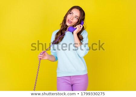 Flörtölő nő telefonál csinos fiatal nő beszél mobiltelefon Stock fotó © acidgrey
