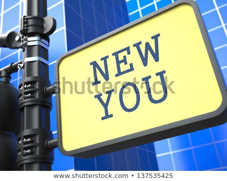Nieuwe verkeersbord motivatie leuze Blauw familie Stockfoto © tashatuvango
