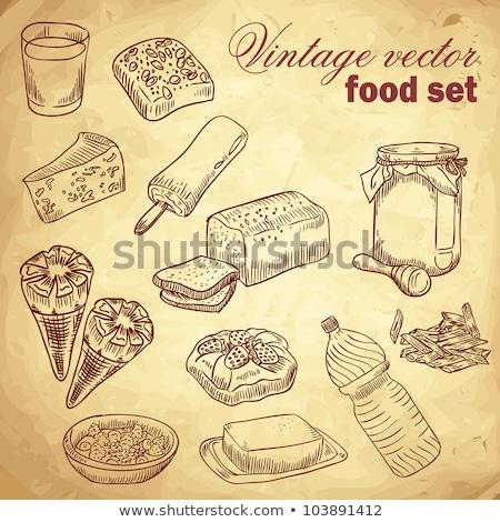 roll honey bread food vintage Stock photo © fotoaloja