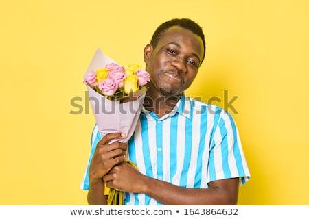 Lieferung · Kurier · halten · Bouquet · Blumen · Lieferwagen - stock foto © dolgachov