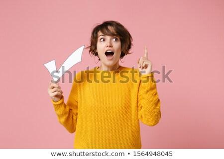 check mark gesture in yellow Stock photo © Nelosa