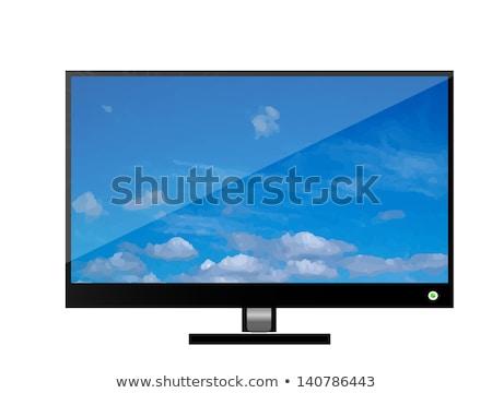 現代 フラットスクリーン テレビ 孤立した 白 ベクトル ストックフォト © alexmillos