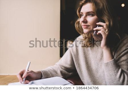Mujer de negocios teléfono organizador Servicio Cafetería Internet Foto stock © vlad_star