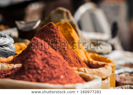 bags with spices on indian market stock photo © mikko