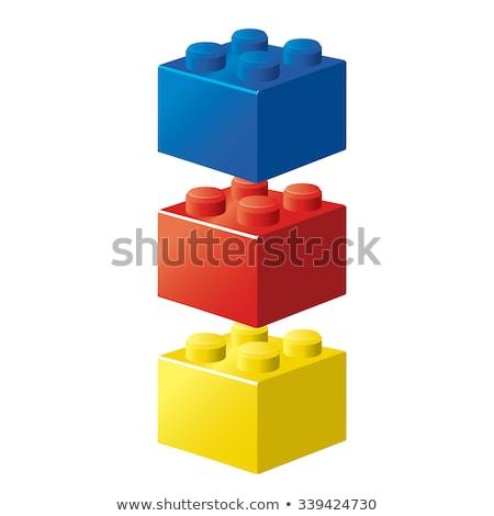 izolált · építkezés · kockák · három · szürke · beton - stock fotó © lucielang