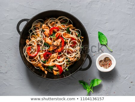 Chinese rice noodles, meat and oyster sauce Stock photo © fanfo