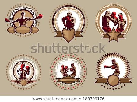 Six circulaire boxe icônes différent Photo stock © Porteador