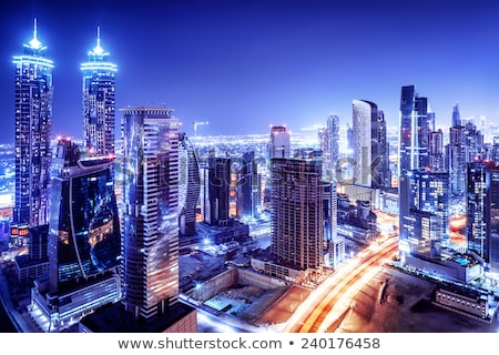 dubai downtown night scene with city lights stock photo © bloodua