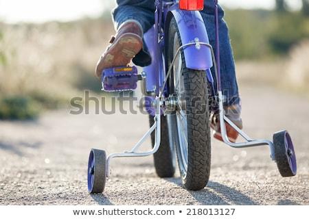Pequeno crianças bicicleta treinamento rodas ao ar livre Foto stock © luckyraccoon