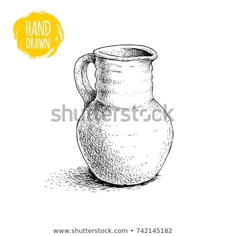 ősi bor kancsó kerámia izolált fehér Stock fotó © Cipariss
