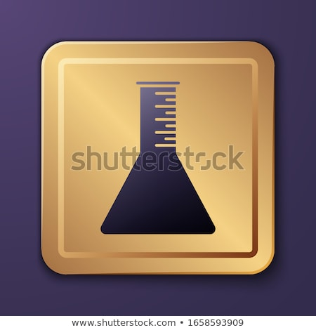 Conical Flask Gold Vector Icon Button Stock photo © rizwanali3d