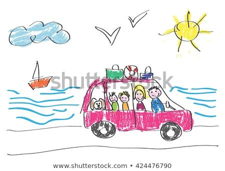Család kezdet nyár nyaralások illusztráció ház Stock fotó © carbouval