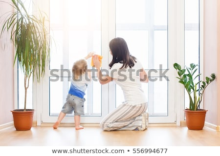 Housewife washing the windows of her house Stock photo © ozgur