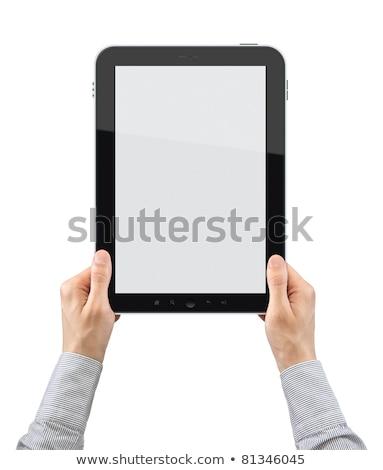 hírnök · karton · dobozok · tabletta · kezek · férfi - stock fotó © wavebreak_media