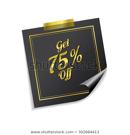 Get 75 Percent Golden Sticky Notes Vector Icon Design Stock photo © rizwanali3d