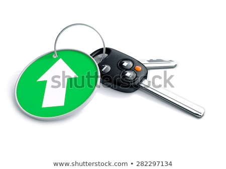 Set of car keys and keyring isolated on white with arrow on gree Stock photo © crashtackle