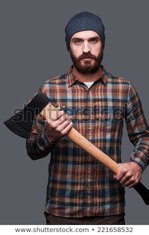 Leñador hacha grave adulto barbado hombre Foto stock © stevanovicigor