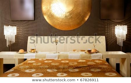 Foto stock: Asia · moderna · dormitorio · desayuno · lujo · mesa