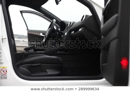Car interior , steering wheel and open door stock photo © jordanrusev