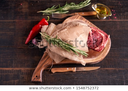 brut · porc · rose · coupé · osseuse · fond · blanc - photo stock © mcherevan