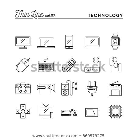 Játék konzol szerkentyű vonal ikon háló Stock fotó © RAStudio