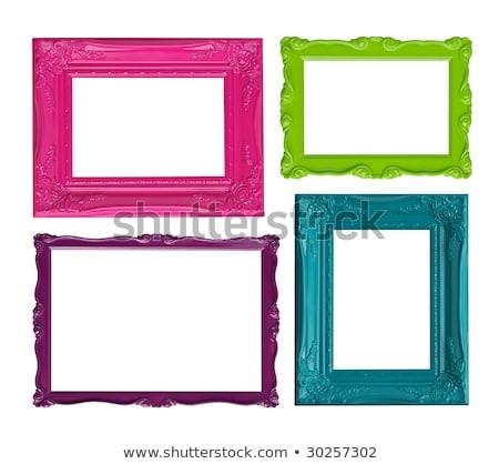 Kék négyszögletes képkeret műanyag izolált fehér Stock fotó © make