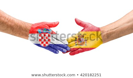Futebol equipes aperto de mão Croácia Espanha mão Foto stock © Zerbor