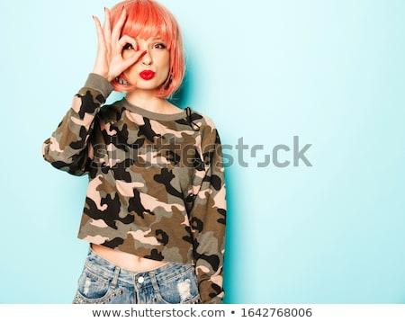 сексуальная женщина глаза леденец изолированный белый женщину Сток-фото © deandrobot