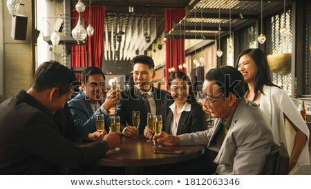 businesspeople hands having toast with champagne stock photo © andreypopov