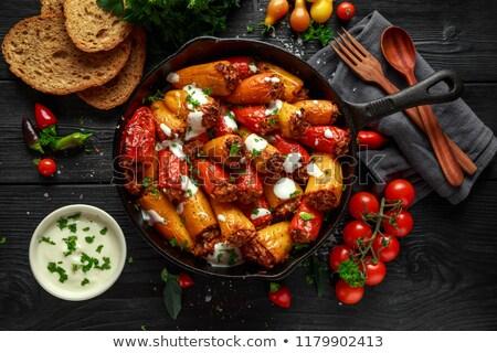 спагетти · свинина · мяса · продовольствие · сыра · вилка - Сток-фото © digifoodstock