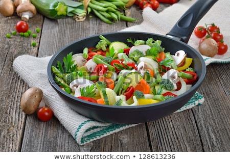 Serpenyő sült póréhagyma darabok egészséges senki Stock fotó © Digifoodstock