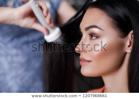 женщину · волос · Lady · стекла - Сток-фото © stockfrank
