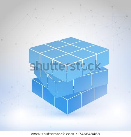 3D · iş · küp · mavi · beyaz · yalıtılmış - stok fotoğraf © dariusl