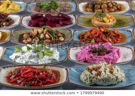 Vorspeise Essen schwarz Hintergrund Restaurant Stock foto © racoolstudio